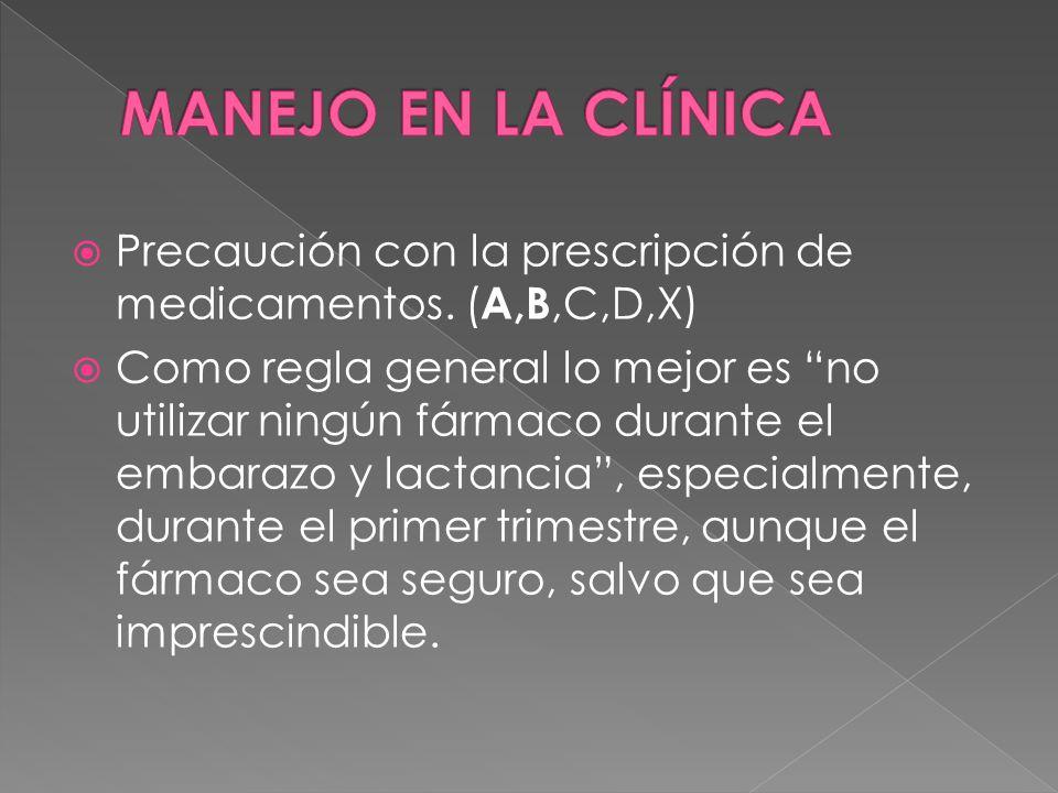  Precaución con la prescripción de medicamentos.