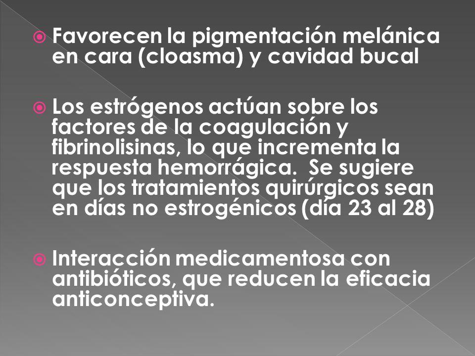  Favorecen la pigmentación melánica en cara (cloasma) y cavidad bucal  Los estrógenos actúan sobre los factores de la coagulación y fibrinolisinas, lo que incrementa la respuesta hemorrágica.