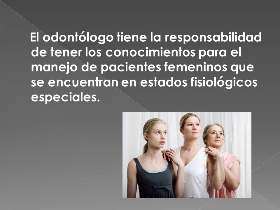 El odontólogo tiene la responsabilidad de tener los conocimientos para el manejo de pacientes femeninos que se encuentran en estados fisiológicos especiales.