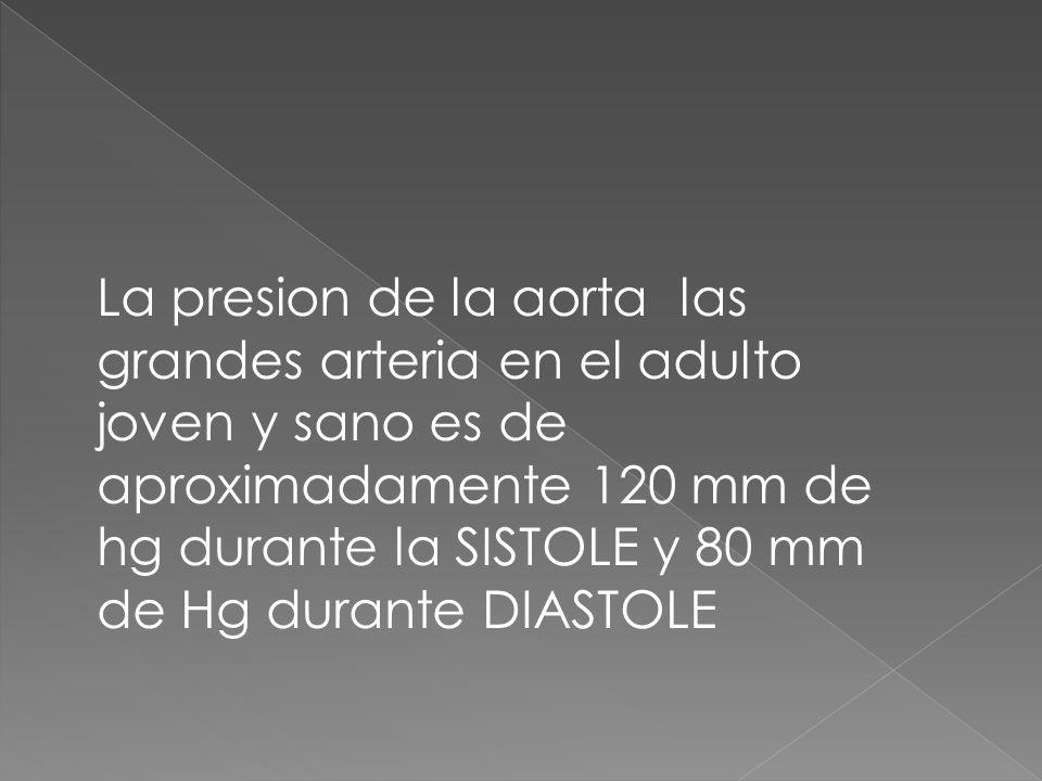 La presion de la aorta las grandes arteria en el adulto joven y sano es de aproximadamente 120 mm de hg durante la SISTOLE y 80 mm de Hg durante DIASTOLE