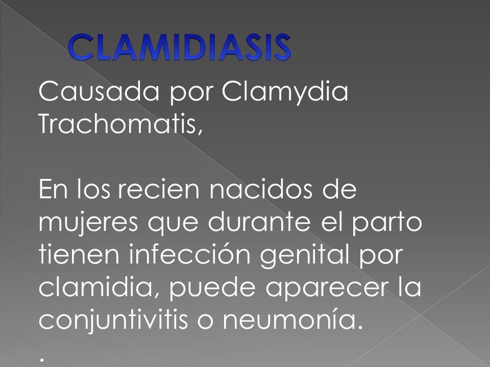 Causada por Clamydia Trachomatis, En los recien nacidos de mujeres que durante el parto tienen infección genital por clamidia, puede aparecer la conjuntivitis o neumonía..