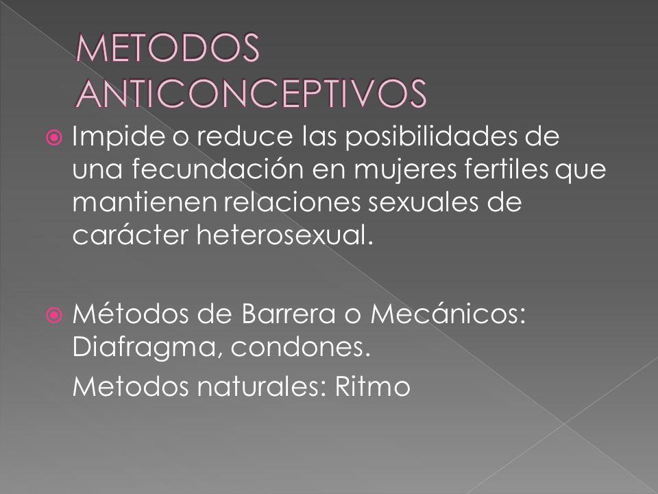  Impide o reduce las posibilidades de una fecundación en mujeres fertiles que mantienen relaciones sexuales de carácter heterosexual.