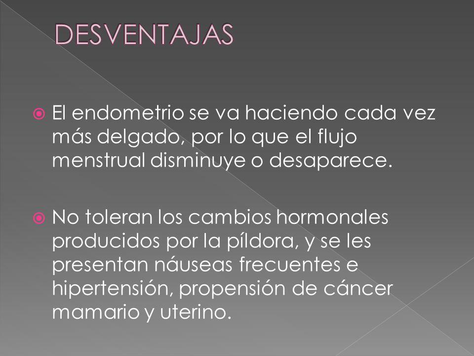  El endometrio se va haciendo cada vez más delgado, por lo que el flujo menstrual disminuye o desaparece.