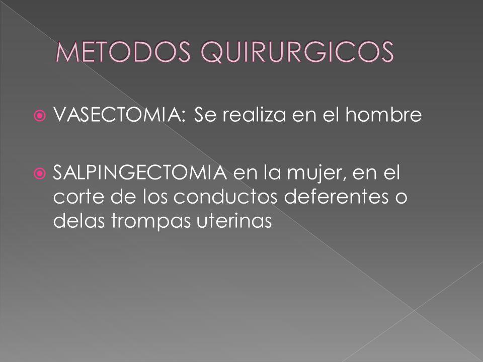 VASECTOMIA: Se realiza en el hombre  SALPINGECTOMIA en la mujer, en el corte de los conductos deferentes o delas trompas uterinas