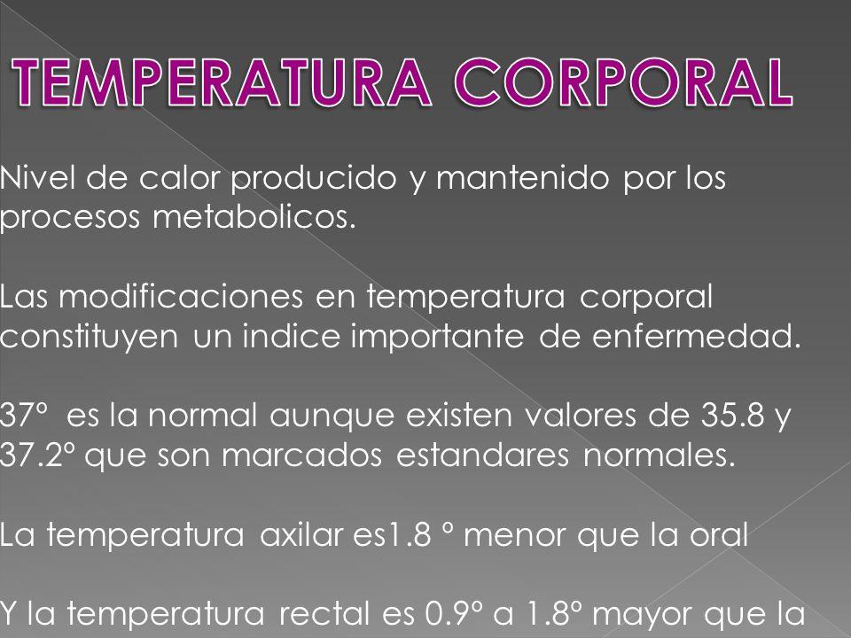 Nivel de calor producido y mantenido por los procesos metabolicos.