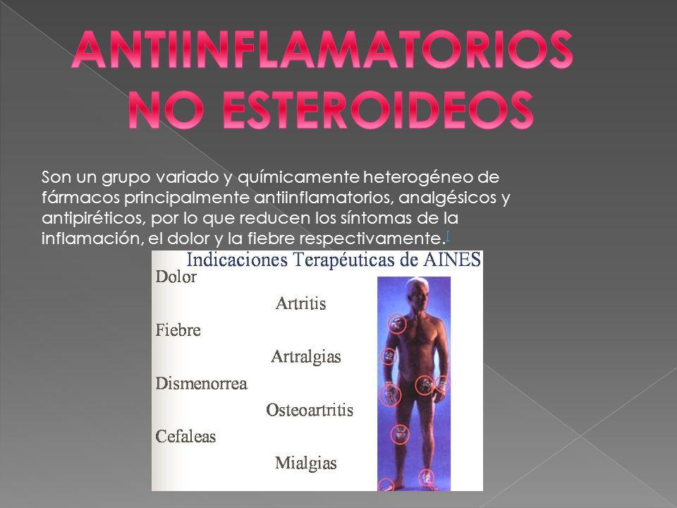 Son un grupo variado y químicamente heterogéneo de fármacos principalmente antiinflamatorios, analgésicos y antipiréticos, por lo que reducen los síntomas de la inflamación, el dolor y la fiebre respectivamente.
