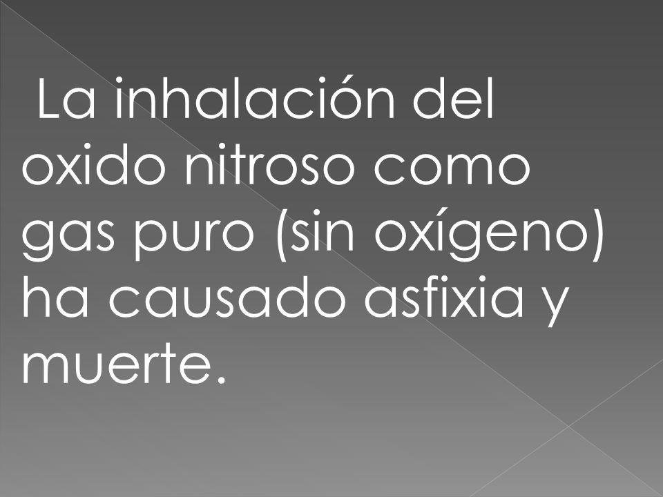 La inhalación del oxido nitroso como gas puro (sin oxígeno) ha causado asfixia y muerte.
