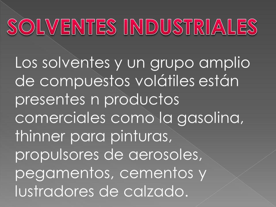 Los solventes y un grupo amplio de compuestos volátiles están presentes n productos comerciales como la gasolina, thinner para pinturas, propulsores de aerosoles, pegamentos, cementos y lustradores de calzado.