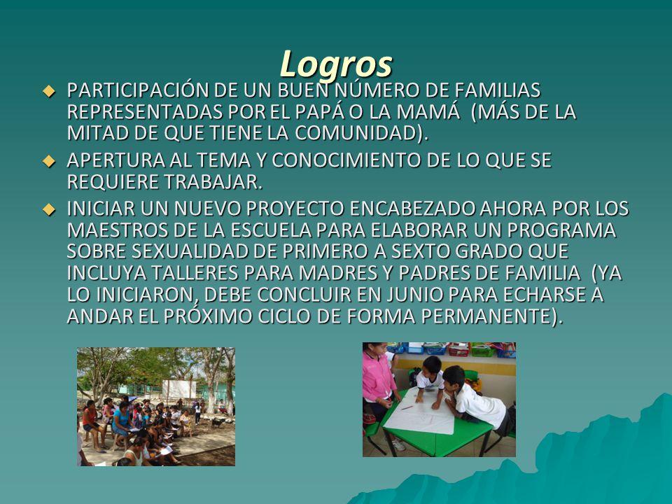 Logros  PARTICIPACIÓN DE UN BUEN NÚMERO DE FAMILIAS REPRESENTADAS POR EL PAPÁ O LA MAMÁ (MÁS DE LA MITAD DE QUE TIENE LA COMUNIDAD).