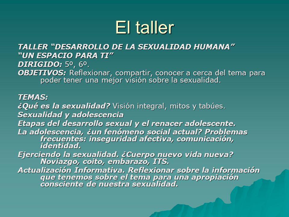 El taller TALLER DESARROLLO DE LA SEXUALIDAD HUMANA UN ESPACIO PARA TI DIRIGIDO: 5º, 6º.
