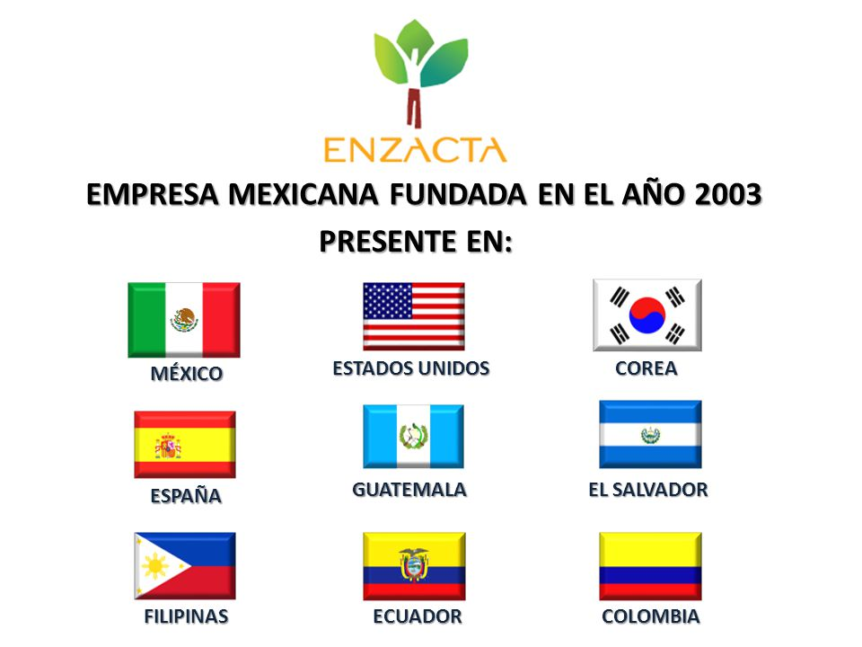 EMPRESA MEXICANA FUNDADA EN EL AÑO 2003 PRESENTE EN: MÉXICO ESTADOS UNIDOS COREA ESPAÑA GUATEMALA EL SALVADOR FILIPINASECUADORCOLOMBIA