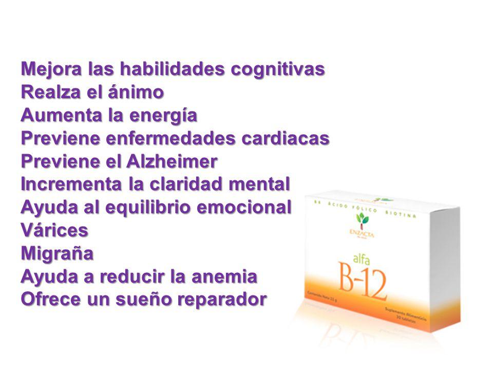Mejora las habilidades cognitivas Realza el ánimo Aumenta la energía Previene enfermedades cardiacas Previene el Alzheimer Incrementa la claridad mental Ayuda al equilibrio emocional VáricesMigraña Ayuda a reducir la anemia Ofrece un sueño reparador
