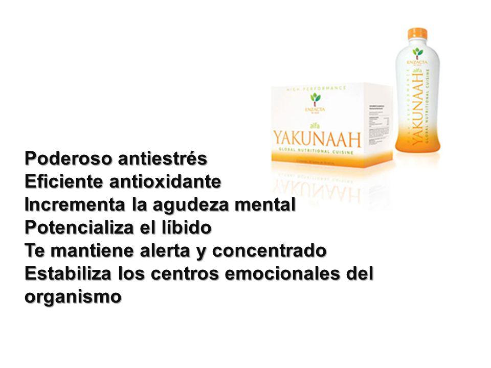 Poderoso antiestrés Eficiente antioxidante Incrementa la agudeza mental Potencializa el líbido Te mantiene alerta y concentrado Estabiliza los centros emocionales del organismo