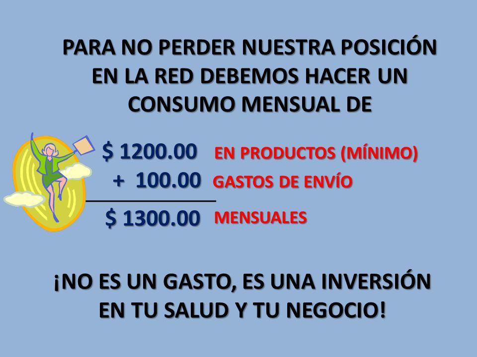 PARA NO PERDER NUESTRA POSICIÓN EN LA RED DEBEMOS HACER UN CONSUMO MENSUAL DE $ 1200.00 EN PRODUCTOS (MÍNIMO) + 100.00 GASTOS DE ENVÍO + 100.00 GASTOS DE ENVÍO $ 1300.00 MENSUALES MENSUALES ¡NO ES UN GASTO, ES UNA INVERSIÓN EN TU SALUD Y TU NEGOCIO!