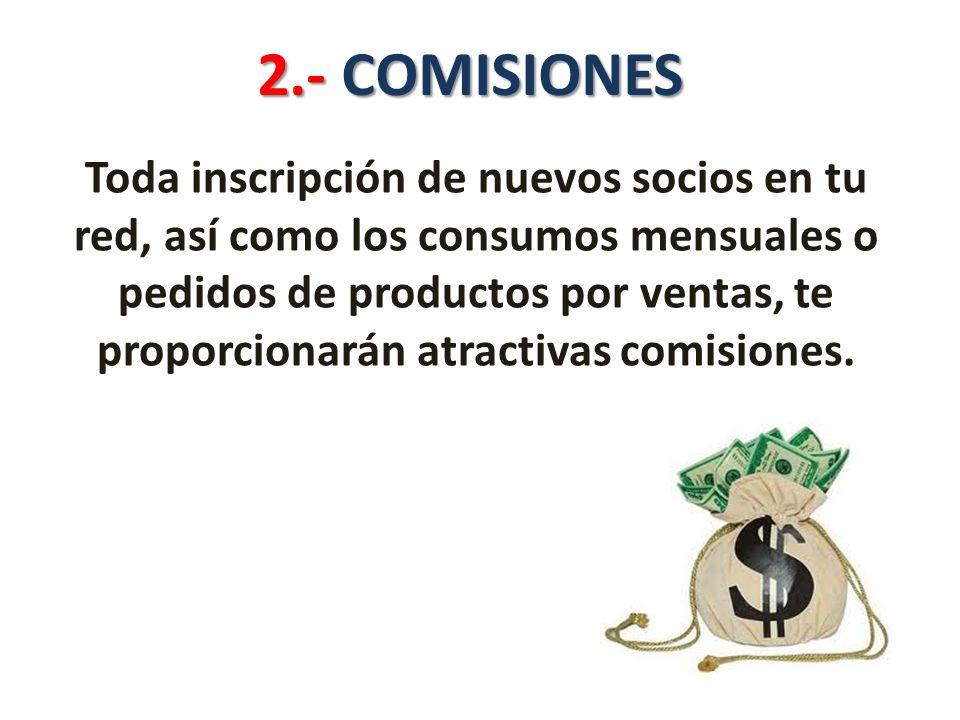 2.- COMISIONES Toda inscripción de nuevos socios en tu red, así como los consumos mensuales o pedidos de productos por ventas, te proporcionarán atractivas comisiones.