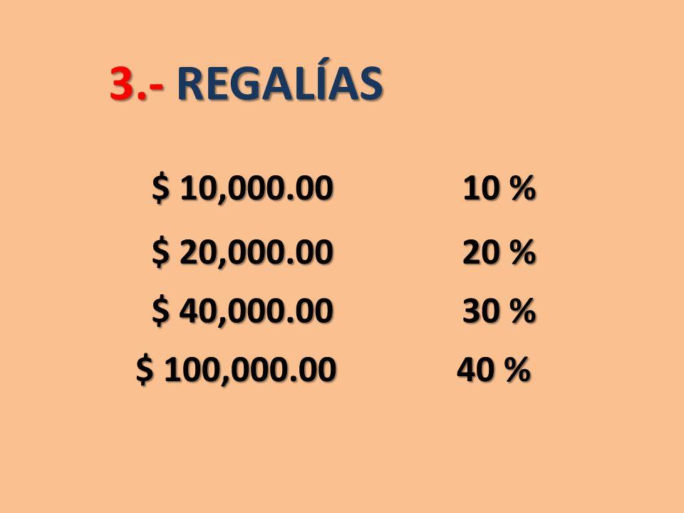 3.- REGALÍAS $ 10,000.00 10 % $ 20,000.00 20 % $ 40,000.00 30 % $ 100,000.00 40 %