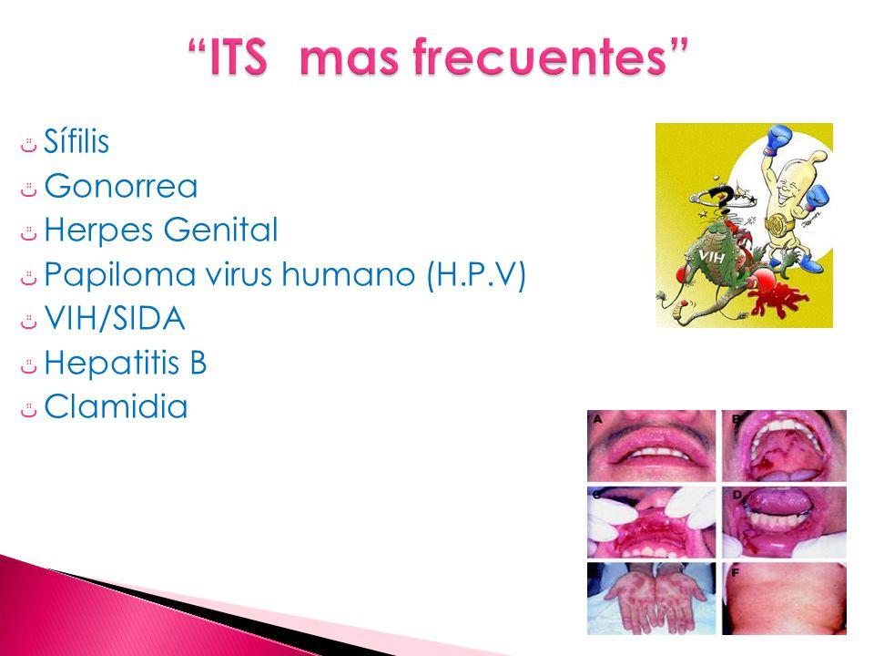 ٿ Sífilis ٿ Gonorrea ٿ Herpes Genital ٿ Papiloma virus humano (H.P.V) ٿ VIH/SIDA ٿ Hepatitis B ٿ Clamidia