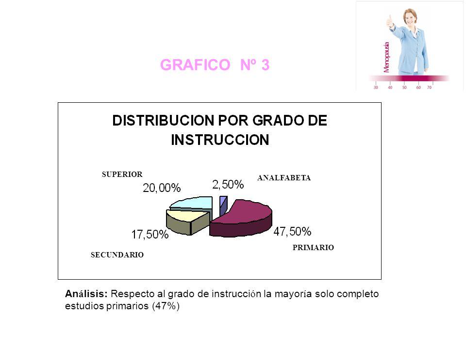 GRAFICO Nº 3 SUPERIOR SECUNDARIO ANALFABETA PRIMARIO An á lisis: Respecto al grado de instrucci ó n la mayor í a solo completo estudios primarios (47%)