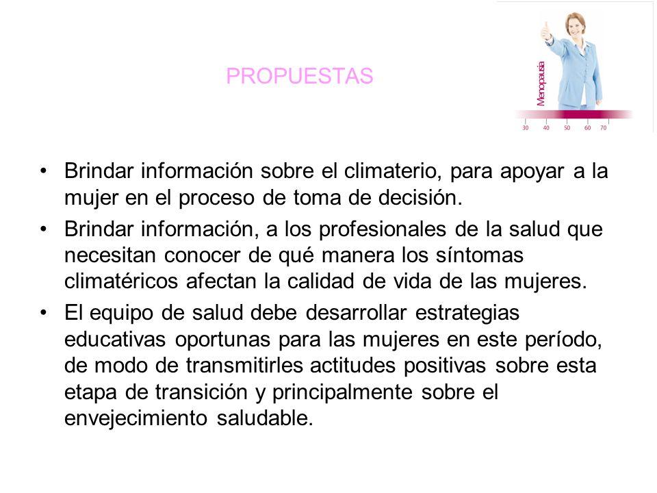 PROPUESTAS Brindar información sobre el climaterio, para apoyar a la mujer en el proceso de toma de decisión.