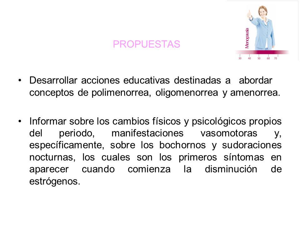 PROPUESTAS Desarrollar acciones educativas destinadas a abordar conceptos de polimenorrea, oligomenorrea y amenorrea.