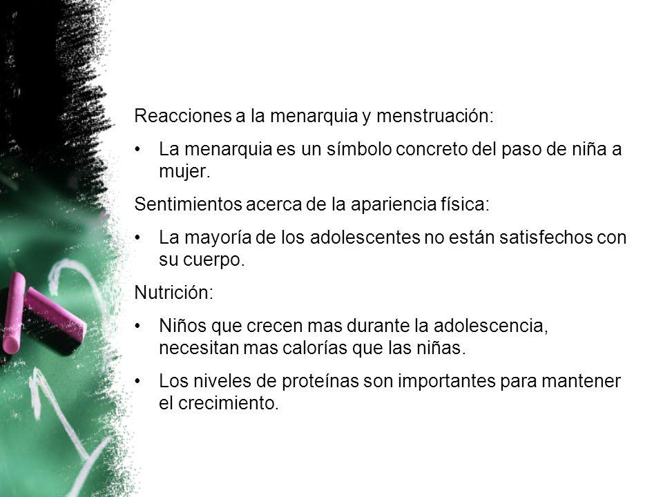 Reacciones a la menarquia y menstruación: La menarquia es un símbolo concreto del paso de niña a mujer.