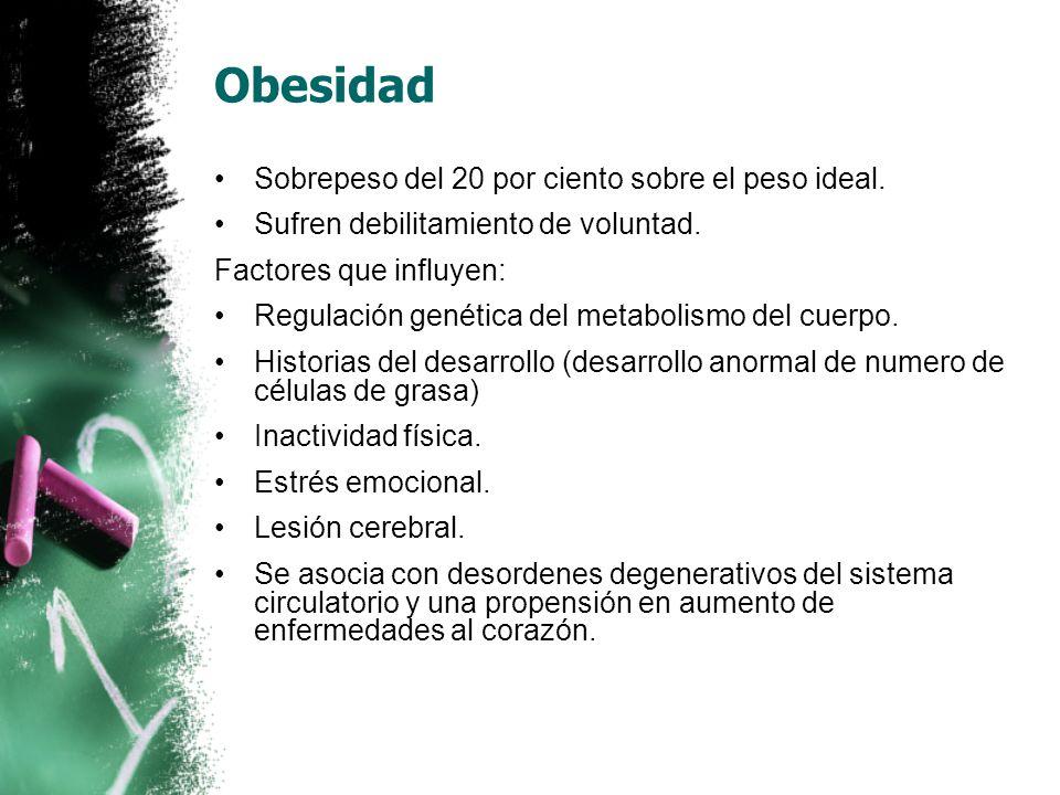 Obesidad Sobrepeso del 20 por ciento sobre el peso ideal.