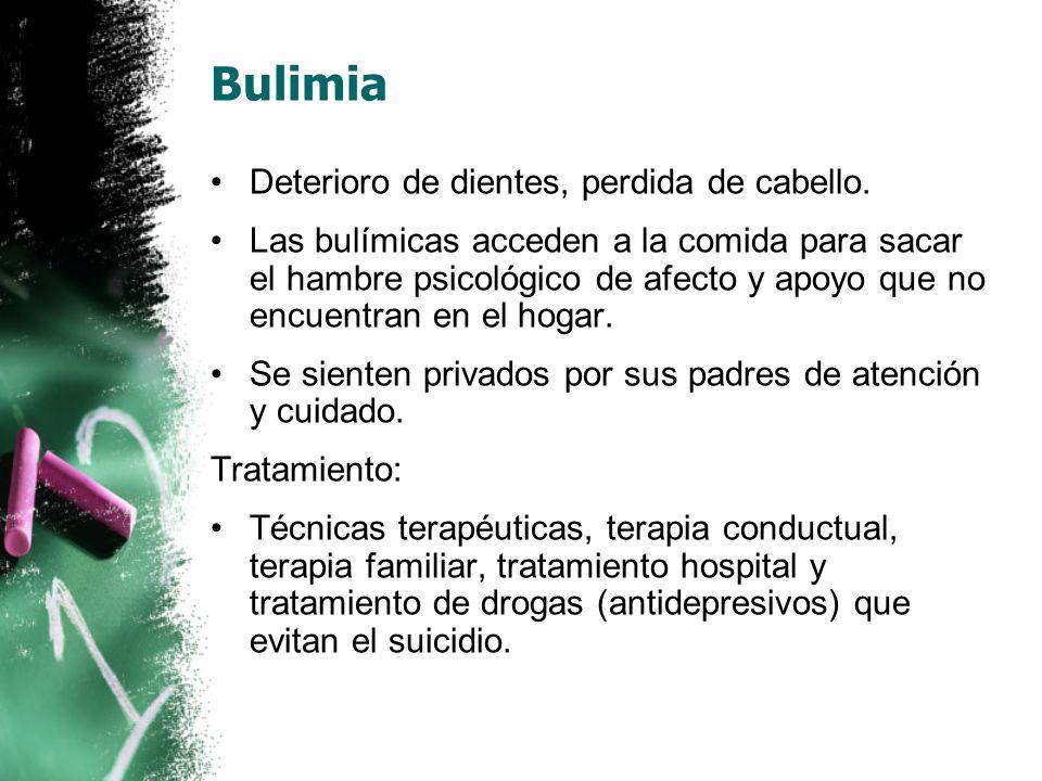 Bulimia Deterioro de dientes, perdida de cabello.