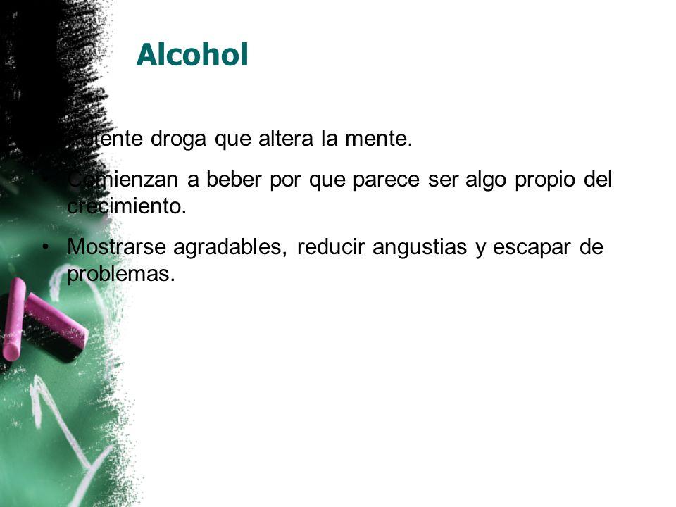 Alcohol Potente droga que altera la mente.