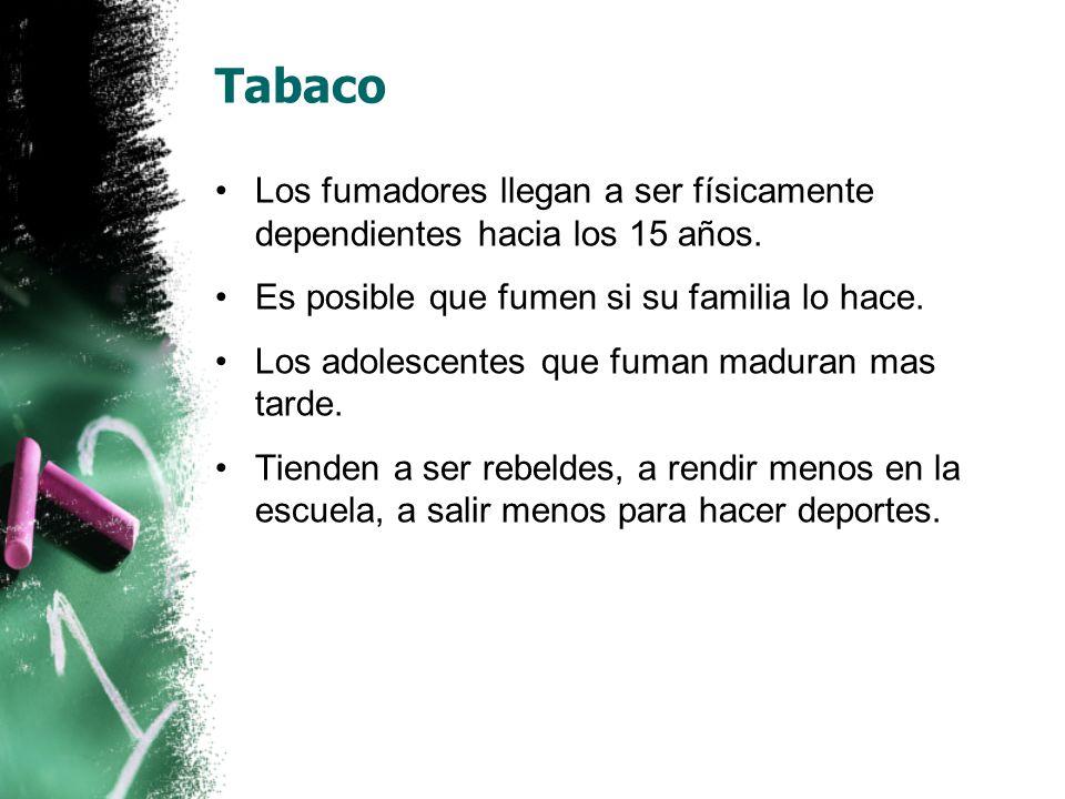 Tabaco Los fumadores llegan a ser físicamente dependientes hacia los 15 años.