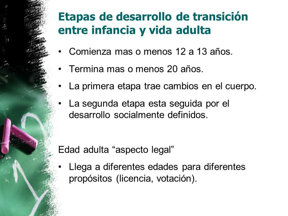 Etapas de desarrollo de transición entre infancia y vida adulta Comienza mas o menos 12 a 13 años.