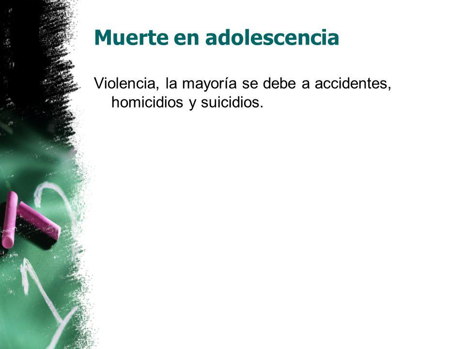 Muerte en adolescencia Violencia, la mayoría se debe a accidentes, homicidios y suicidios.
