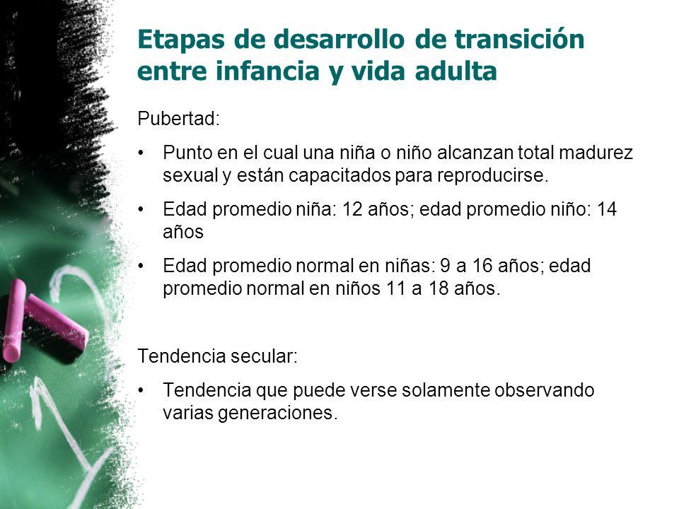 Pubertad: Punto en el cual una niña o niño alcanzan total madurez sexual y están capacitados para reproducirse.