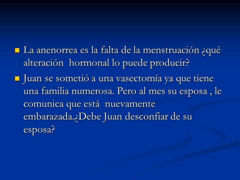 La anenorrea es la falta de la menstruación ¿qué alteración hormonal lo puede producir.