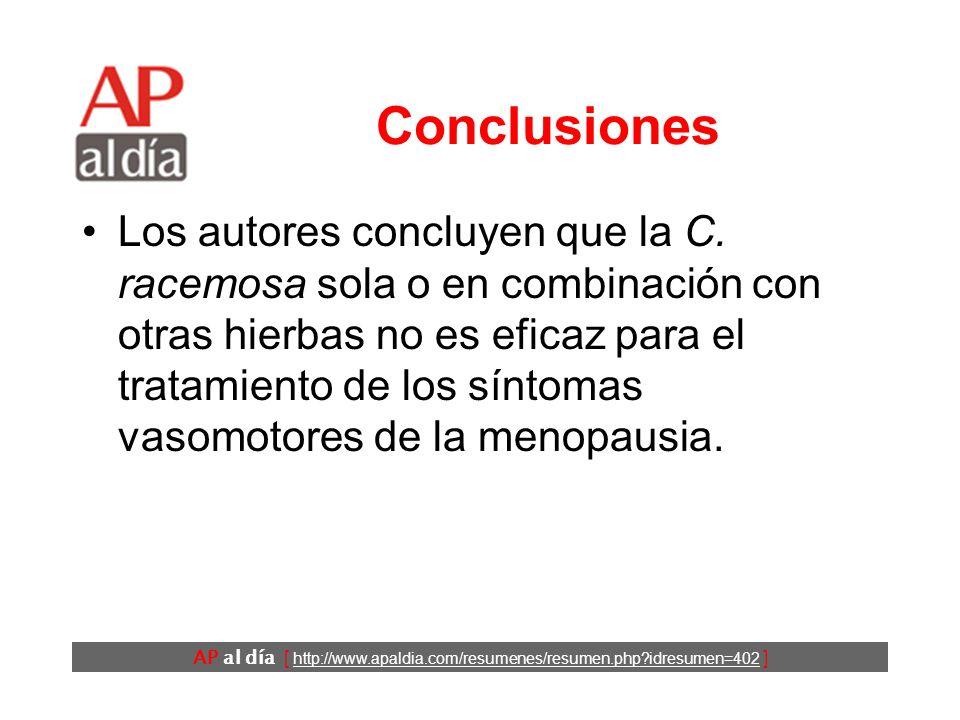 AP al día [ http://www.apaldia.com/resumenes/resumen.php idresumen=402 ] Conclusiones Los autores concluyen que la C.