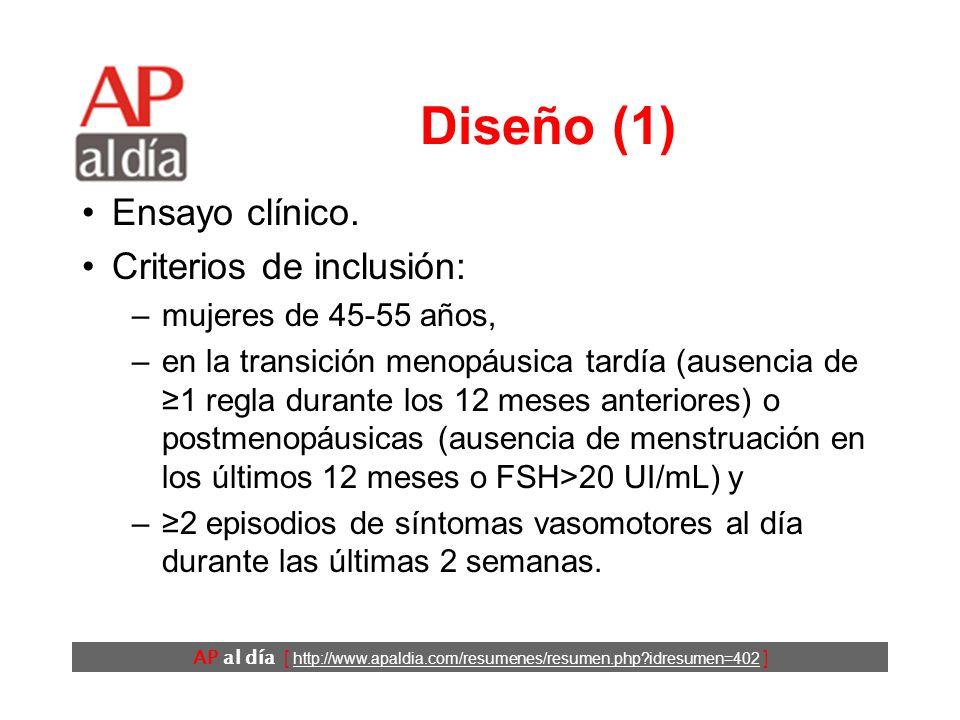 AP al día [ http://www.apaldia.com/resumenes/resumen.php idresumen=402 ] Diseño (1) Ensayo clínico.