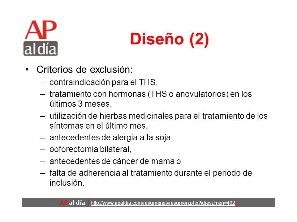 AP al día [ http://www.apaldia.com/resumenes/resumen.php idresumen=402 ] Diseño (2) Criterios de exclusión: –contraindicación para el THS, –tratamiento con hormonas (THS o anovulatorios) en los últimos 3 meses, –utilización de hierbas medicinales para el tratamiento de los síntomas en el último mes, –antecedentes de alergia a la soja, –ooforectomía bilateral, –antecedentes de cáncer de mama o –falta de adherencia al tratamiento durante el periodo de inclusión.