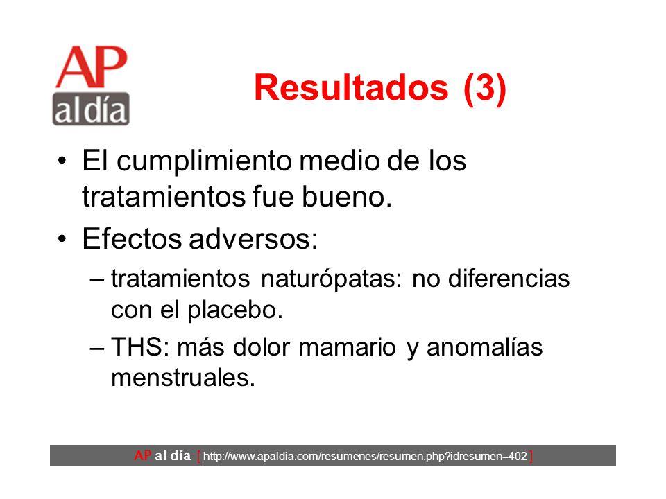 AP al día [ http://www.apaldia.com/resumenes/resumen.php idresumen=402 ] Resultados (3) El cumplimiento medio de los tratamientos fue bueno.