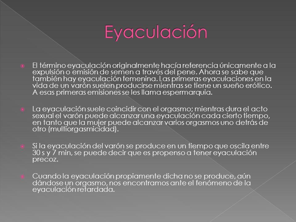  El término eyaculación originalmente hacía referencia únicamente a la expulsión o emisión de semen a través del pene.