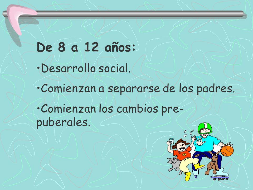 De 8 a 12 años: Desarrollo social. Comienzan a separarse de los padres.
