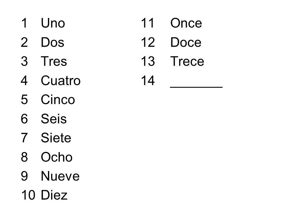 1Uno11Once 2Dos12Doce 3Tres13Trece 4Cuatro14_______ 5Cinco 6Seis 7Siete 8Ocho 9Nueve 10Diez