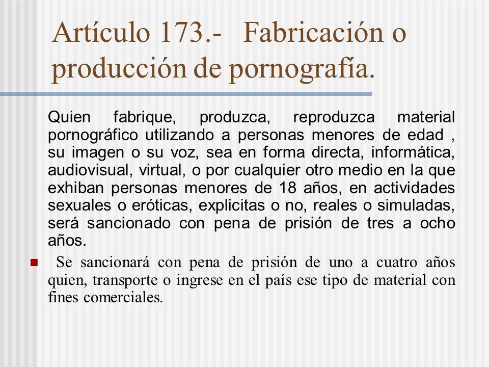 Artículo 173.- Fabricación o producción de pornografía.