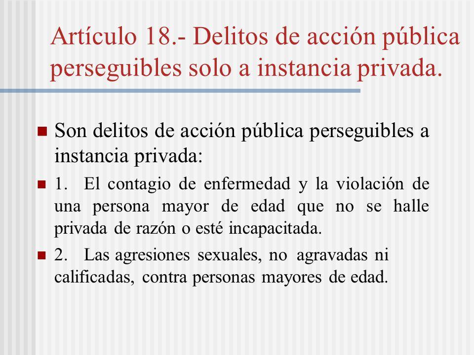 Artículo 18.- Delitos de acción pública perseguibles solo a instancia privada.