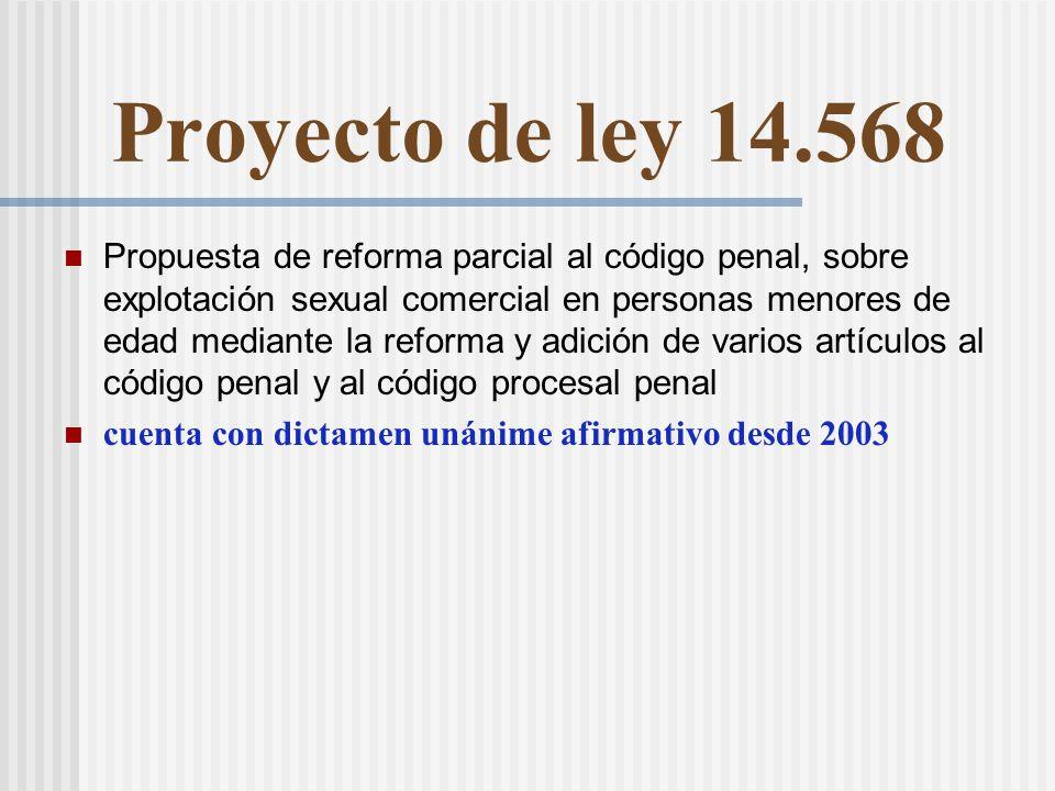 Proyecto de ley 14.568 Propuesta de reforma parcial al código penal, sobre explotación sexual comercial en personas menores de edad mediante la reforma y adición de varios artículos al código penal y al código procesal penal cuenta con dictamen unánime afirmativo desde 2003