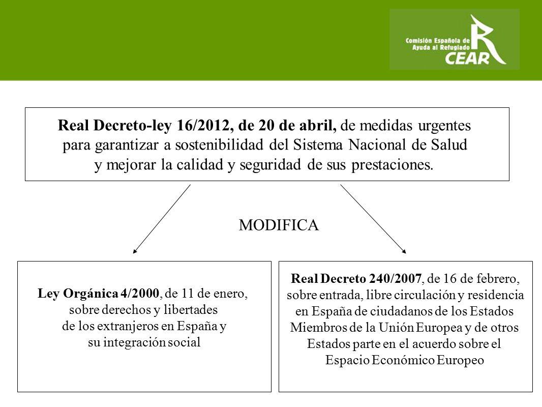 Real Decreto-ley 16/2012, de 20 de abril, de medidas urgentes para garantizar a sostenibilidad del Sistema Nacional de Salud y mejorar la calidad y seguridad de sus prestaciones.