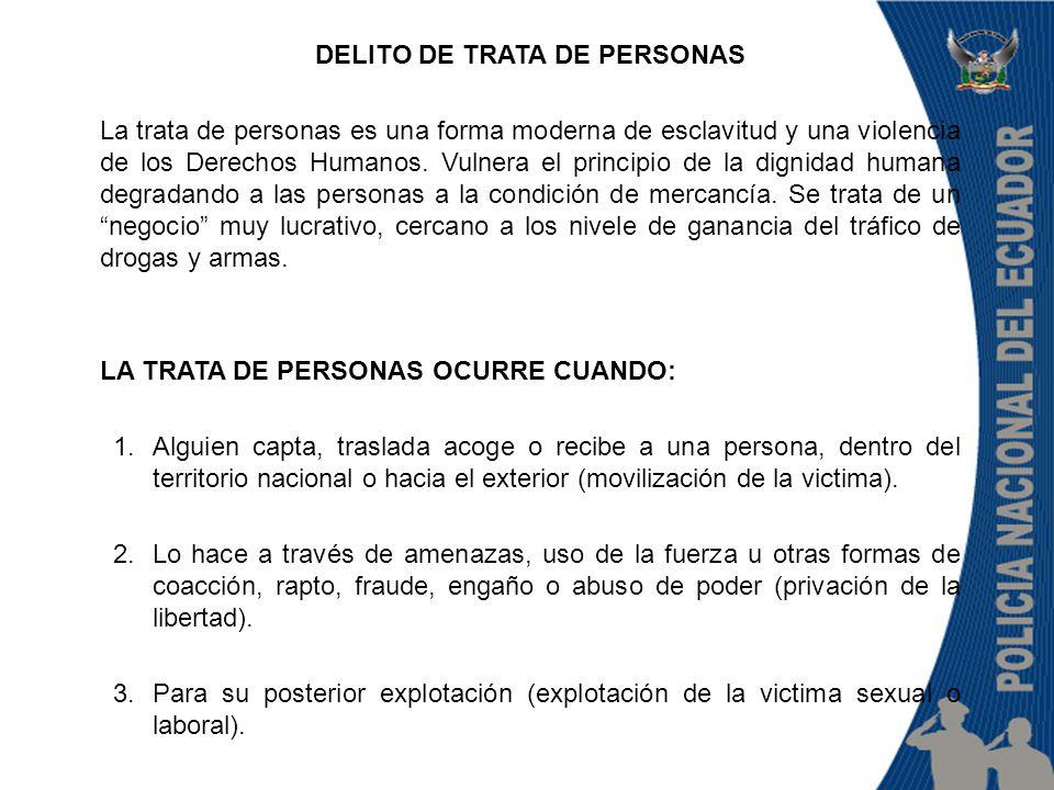 DELITO DE TRATA DE PERSONAS La trata de personas es una forma moderna de esclavitud y una violencia de los Derechos Humanos.