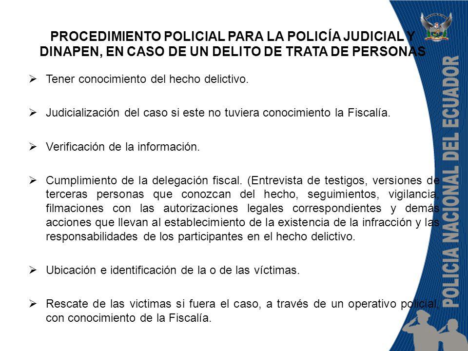PROCEDIMIENTO POLICIAL PARA LA POLICÍA JUDICIAL Y DINAPEN, EN CASO DE UN DELITO DE TRATA DE PERSONAS  Tener conocimiento del hecho delictivo.