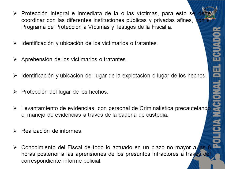  Protección integral e inmediata de la o las víctimas, para esto se debe coordinar con las diferentes instituciones públicas y privadas afines, con el Programa de Protección a Víctimas y Testigos de la Fiscalía.
