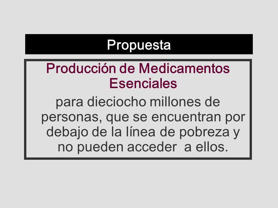 Propuesta Producción de Medicamentos Esenciales para dieciocho millones de personas, que se encuentran por debajo de la línea de pobreza y no pueden acceder a ellos.