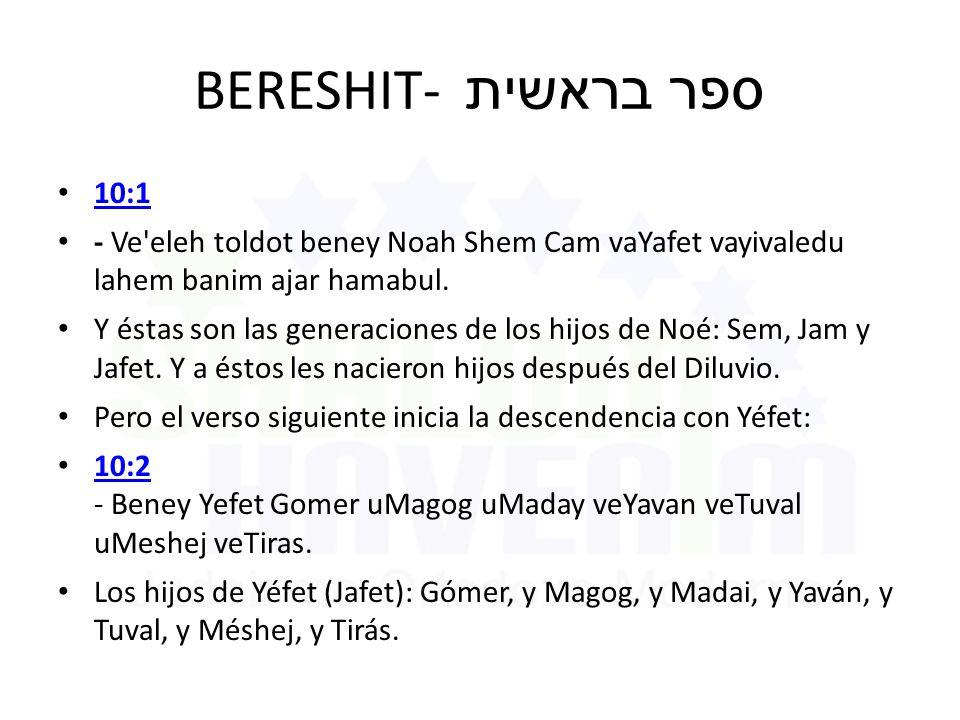 BERESHIT- ספר בראשית 10:1 - Ve eleh toldot beney Noah Shem Cam vaYafet vayivaledu lahem banim ajar hamabul.