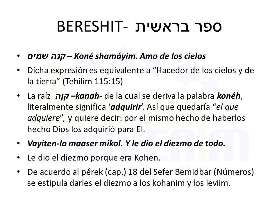 BERESHIT- ספר בראשית קנה שמים – Koné shamáyim.